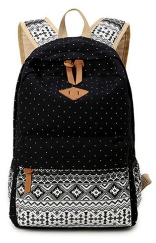 Hitop Geometry Dot Casual Canvas Backpack Bag