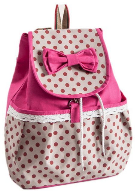Phenas® Girls Lovely Sweet Bowknot Leisure Canvas Backpack for Student (Rose)
