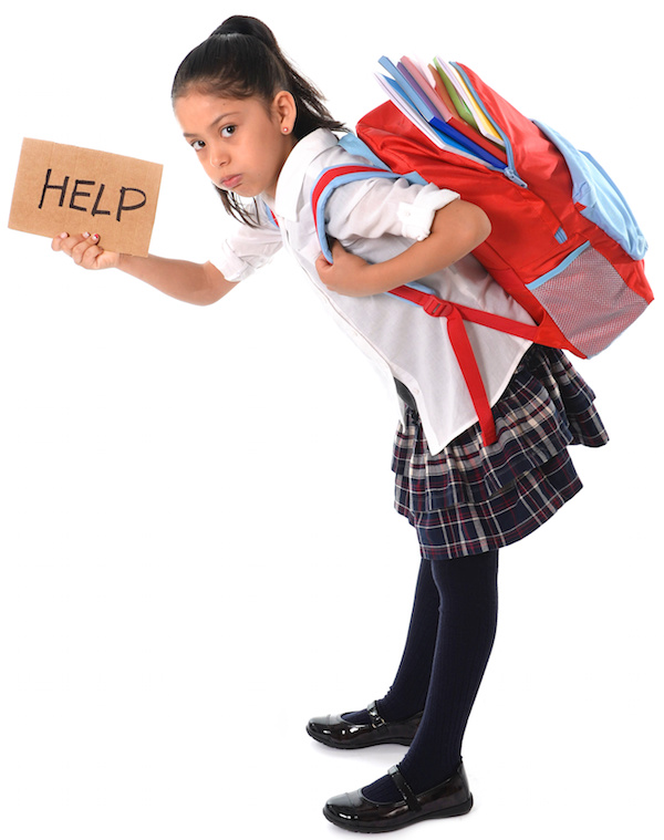 sweet little girl asking for help carrying very heavy backpack or schoolbag full causing her stress and pain on her back due to overweight isolated on white background