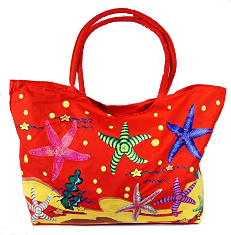 Waterproof Jumbo Red Canvas Beach Tote Bag